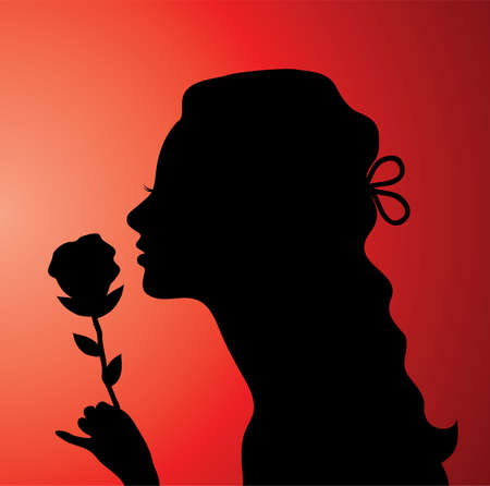 vector illustration of a young woman with a rose Vector