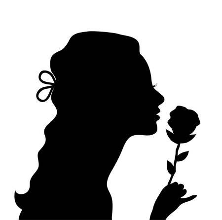 illustrazione vettoriale di una giovane donna con una rosa