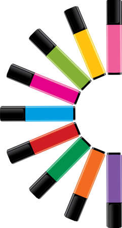 vector colorful highlighters with caps Vector