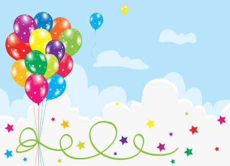 aniversario: Ilustraci�n de globos de colores en el cielo