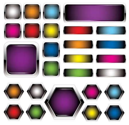 rectangle button: set of colorful metal buttons