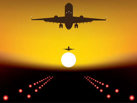 runway: illustration of landing plane over runway at sunset