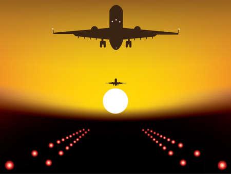 illustration of landing plane over runway at sunset