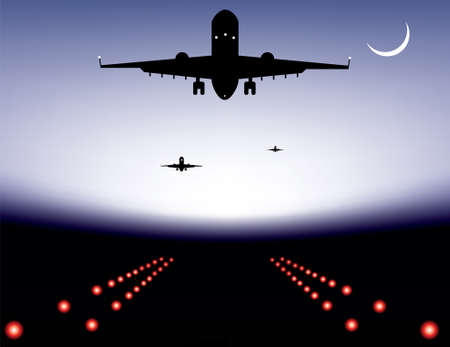plane landing: illustration of landing plane over runway