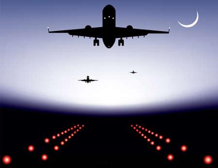 illustrazione di atterraggio aereo sulla pista