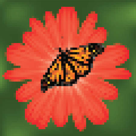 butterfly on a red flower, mosaic background Vector