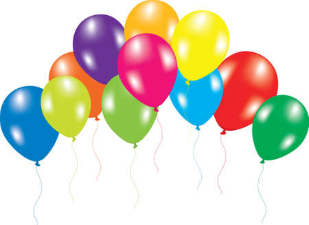 vector illustration of colorful balloons on white background  Illustration