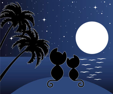 vector illustration of two cats in love under palms