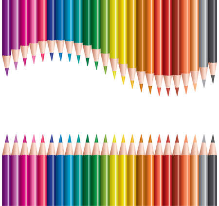 vector sets of colored pencils in rows Stock Vector - 9290430