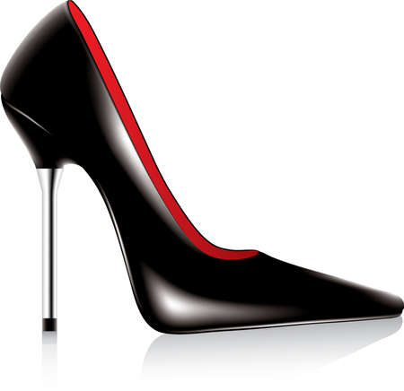 Wektor wysokiej przechyłu buta metalowych stiletto