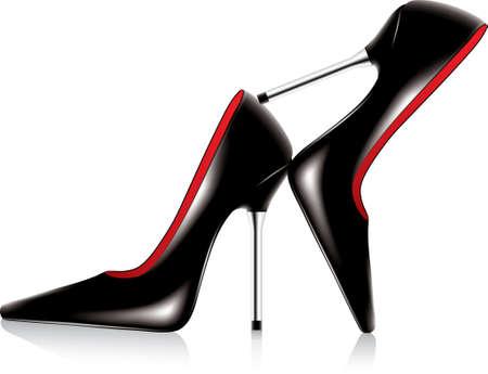 tacones rojos: Vector par de zapatos de tac�n con aguja de metal