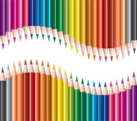 school supplies: vector set of colored pencils Illustration