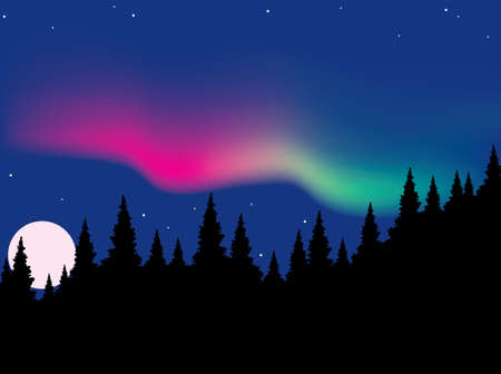 moon  light: aurora vector polaris bosque