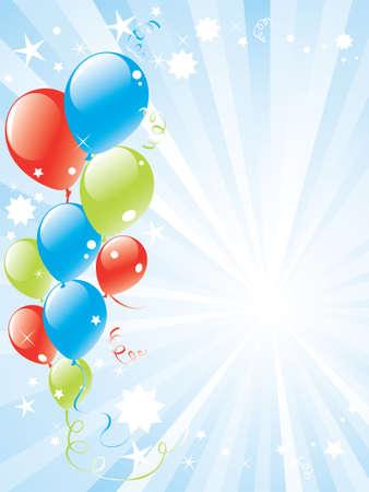 white party: vector feestelijke ballonnen en lightburst met ruimte voor tekst