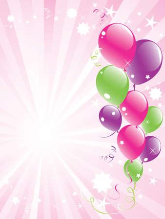 festive palloncini e lightburst con spazio per il testo vettoriali