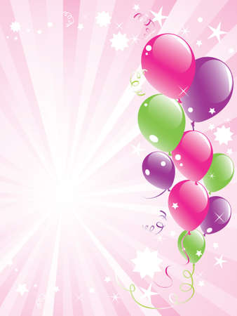 vector festive balloons and lightburst with space for text Stock Vector - 9395576