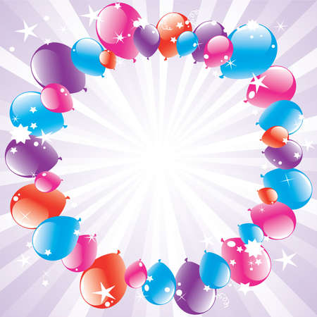 balloon border: vector festive balloons and light-burst with space for text
