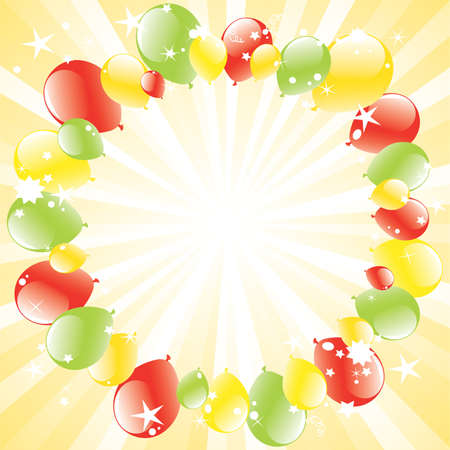 party balloon: vector festive balloons and light-burst with space for text
