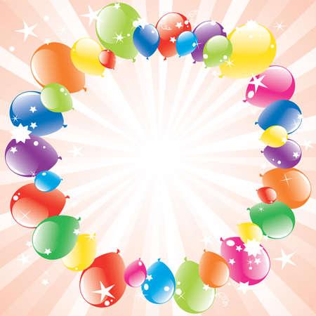 Vector festivo palloncini e burst in luce con spazio per il testo