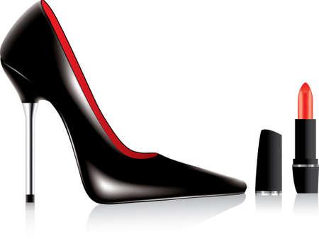 scarpa tacco alto e un rossetto vettoriali  Vettoriali
