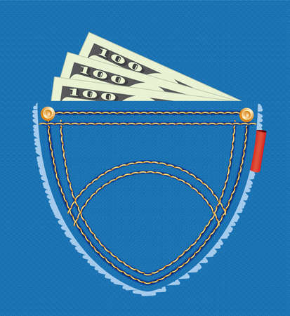money in pocket: vector illustration of dollar banknotes in the pocket of blue jeans
