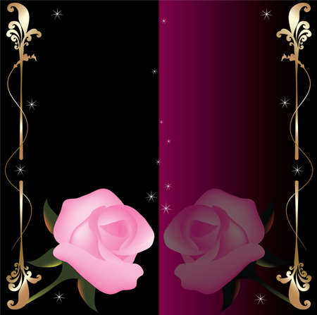 vector abstract background with pink roses Vector