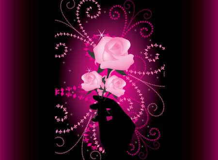vector roses in hand Vector