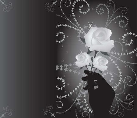 vector roses in hand Stock Vector - 9612662