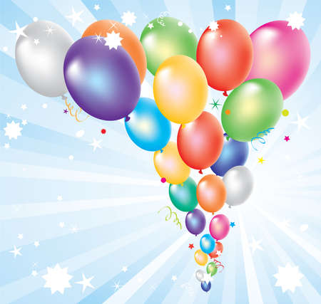 vector illustration of colorful balloons and light-burst Vector