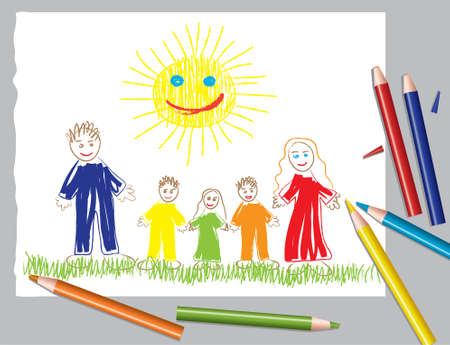 grass family: vector illustration of happy family and the sun