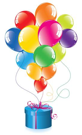 vector bunch of colorful balloons and a gift box Illustration