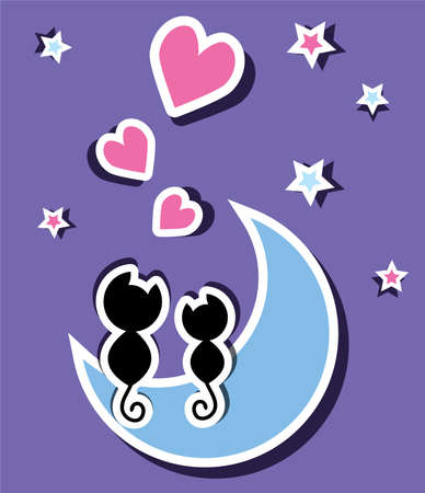 two cats in love sitting on the moon, vector Vector