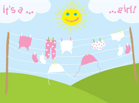 pink hills: babys clothes drying under the sun, vector illustration