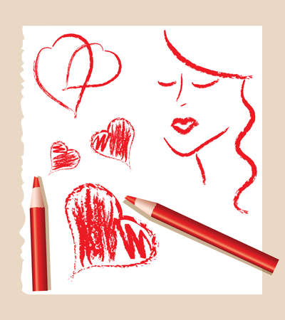 pencil sketch of red hearts and beautiful woman, vector Vector