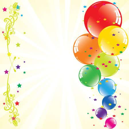 vector de globos festivos y ráfagas de luz con espacio para texto  Ilustración de vector