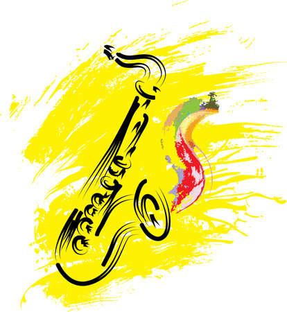 vettore sassofono stilizzata su sfondo grunge Vettoriali