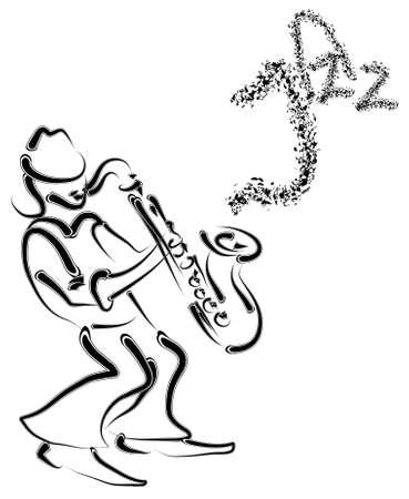musicista e sassofono stilizzato vettoriali