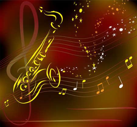 saxophone: saxof�n estilizada sobre fondo abstracto de vectores