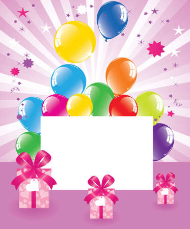balloon border: vector festive balloons and gift boxes  Illustration