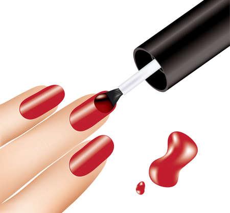 donna applicando smalto rosso sulle dita, vector