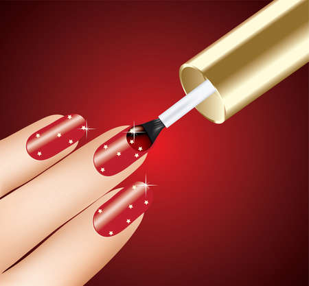 woman applying red nail polish on fingers, vector Vector