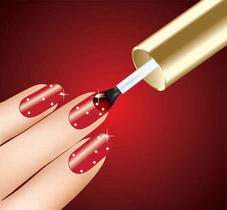 nail salon: woman applying red nail polish on fingers, vector