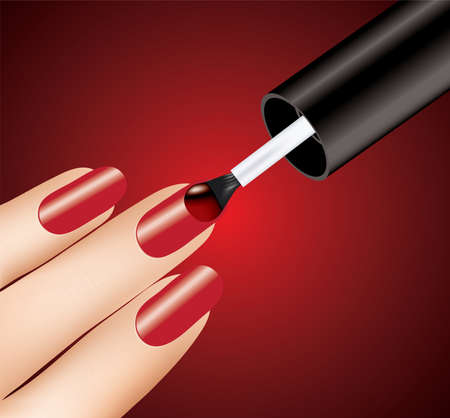 manicure salon: woman applying red nail polish on fingers, vector