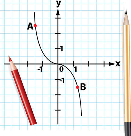 vector pencils and mathematical function graph Vector