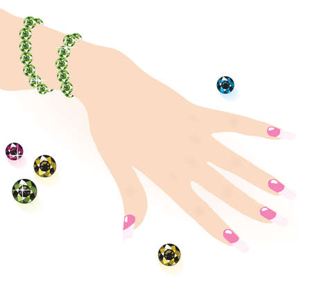 jewel hands: green emerald bracelet on woman hand, vector