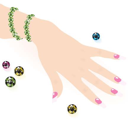 jewel hands: green emerald bracelet on woman hand, vector