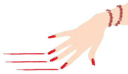jewel hands: woman hand with ruby bracelet scratching red lines, vector