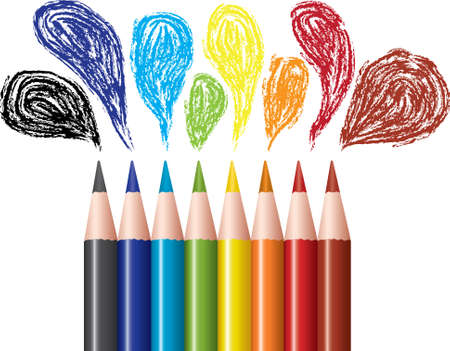 coloring sheets: vector set of colored pencils and bubbles