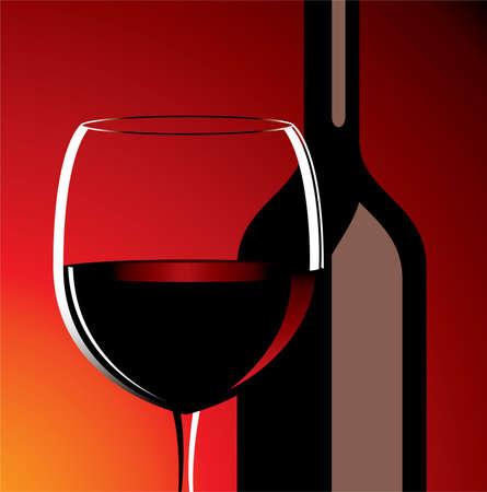 bottiglia e bicchiere di vino Vettoriali