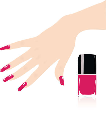 nail polish: woman hand with red fingernails  Illustration